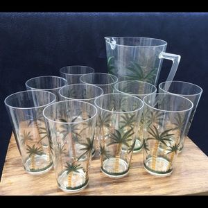 Vintage Palm Tree Tumblers and Pitcher Set